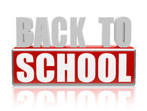 Back to school in red white banner - letters and block Stock Photos