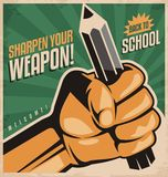 Back to school. Retro school poster design concept. Sharpen your weapon and back to school creative ad template. Vintage flyer with fist holding the pencil vector illustration