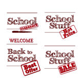 Back to School - retro typography design logos. Sale and clearan Royalty Free Stock Images