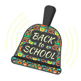 Back to school ringing bell symbol with school pattern cover. Flat vector educational sign for september study beginning Royalty Free Stock Photo