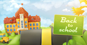Back to school, road and sign Stock Image
