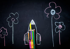 Back to school rocket made out of pencils royalty free stock image