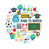 Back to school round composition. Vector back to school round composition with school icons in flat style Stock Photos