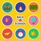 Back to school round icon set. Green board, bell Stock Images
