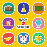Back to school round icon set. Green board, bell, alarm clock, world globe, book shelf, paper plane, schoolbag, maple leaf. Yellow Royalty Free Stock Photos