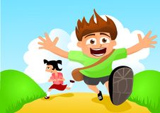 Back to school. Running kids. Royalty Free Stock Photos