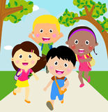 Back to school. Running kids. Illustration of kids back to school. Running kids Royalty Free Stock Photography