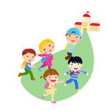 Back to school. Running kids. Stock Photography