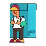 Back to school. sad Boy and Backpacks. Illustration for Septembe. R 1. Schoolboy goes to school With schoolbag Royalty Free Stock Photos