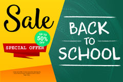 Back to School sale background on the chalkboard with sale percentages. Marketing poster. Stock Image