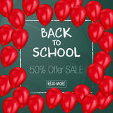 Back to School sale background on the chalkboard with sale percentages. Marketing poster with balloons. Stock Image