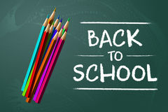 Back to School sale background on the chalkboard with sale percentages. Marketing poster with color pencils. Stock Photography