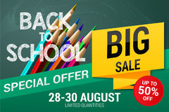 Back to School sale background on the chalkboard with sale percentages. Marketing poster with color pencils. Royalty Free Stock Image