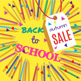 Back To School Sale. Background with Colorful Pencils with Header. Welcome. Poster,Banner ,Brochure Template.Vector Illustration.Eps 10 Stock Images