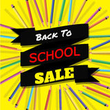 Back To School Sale. Background with Colorful Pencils with Header. Welcome. Poster,Banner ,Brochure Template.Vector Illustration. Royalty Free Stock Images