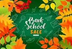 Back to school sale banner.Autumn leaves, pencils on the blackboard.Vector illustration for website , posters, ads, coupons, promo. Back to school sale banner royalty free illustration