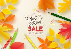 Back to school sale banner.Autumn leaves, pencils and pen on white background.Vector illustration for website , posters. Ads, coupons, promotional material royalty free illustration