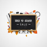 Back to school. Sale banner with blackboard, eyeglasses, notebook, pen, pencil, ruler, autumn leaves. Vector Stock Photography