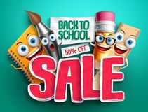 Back to school sale banner design with funny vector characters Stock Photo