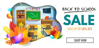 Back to school sale banner with empty cartoon classroom. Vector stock illustration