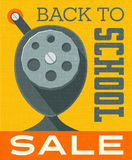 Back to school sale banner poster design with vintage pencil sharpener Stock Photo