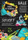 Back to School vector autumn sale sketch poster. Back to School sale banner or poster sketch template for September autumn seasonal school store discount promo Stock Photo