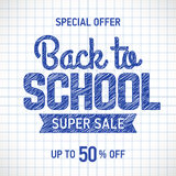 Back to school sale banner. Back to school sale poster or banner template with hand drawn text elements on squared paper Royalty Free Stock Photos