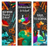 Back to school sale banner with special offer. Of school supplies and equipment. Education items on chalkboard with pencil, book and globe, paint and backpack Royalty Free Stock Photo