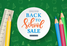 Back to School Sale Banner Template Stock Image