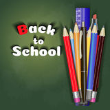Back to school sale banner vector design in red background with school items and objects for store discount promotion Royalty Free Stock Images