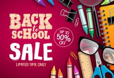 Back to school sale banner vector design in red background with school supplies