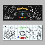 Back to school SALE banners, labels. Vector hand drawn illustration. Chalkboard lettering. Typography. Sketch style with hand draw. N elements. School supplies Vector Illustration