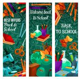 Back to School vector autumn sale banners. Back to School sale banners for September autumn seasonal school store discount promo on green chalkboard pattern Royalty Free Stock Photography