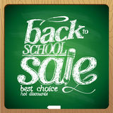 Back to school sale blackboard chalk. Stock Image