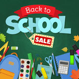 Back to school sale. Blackboard with greeting, First of September, Back to school sale. Vector Royalty Free Stock Images