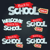 Back to school sale. Blackboard with greeting, First of September, Back to school sale. Vector Stock Photo