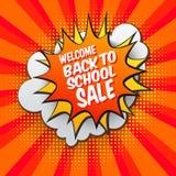 Back to school Sale bubble. Back to school Sale comic bubble on bright orange background. Vector illustration. Pop Art design. Sale pop art style banner. Retro Royalty Free Stock Images
