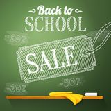 Back to school sale on the chalkboard with Royalty Free Stock Photo