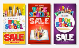 Back to School Sale Creative Ad Banner and Poster Set with Colorful Titles. And Different School Items in Different Color Backgrounds for Promotional Purposes vector illustration