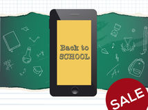 Back to school sale design. Mobile phone and doodles Royalty Free Stock Photography