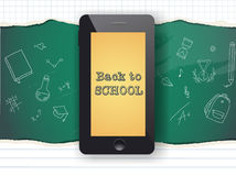 Back to school sale design. Mobile phone and doodles Stock Photography
