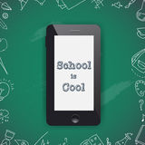 Back to school sale design. Mobile phone and doodles Royalty Free Stock Photo