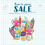 Back to school sale doodle clip art greeting card Stock Photography