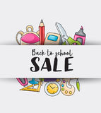Back to school sale doodle clip art greeting card. Stock Photography