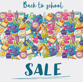 Back to school sale doodle clip art greeting card Stock Photo