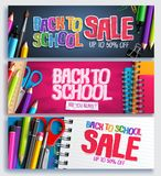 Back to school sale and education discount promotion background vector. Banner set with sale text and school items in colorful backgrounds. Vector illustration royalty free illustration