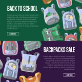 Back to school sale flyers set with backpacks. Back to school sale flyers set with colorful backpacks. School supplies marketing promotion, retail advertising Stock Images