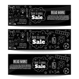 Back to school sale banners. Back to school sale. Horizontal sale banners with hand drawn doodles. Vector illustration Royalty Free Stock Image