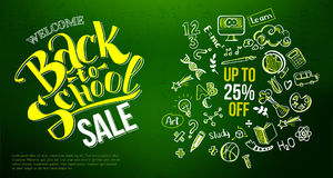 Back to school sale icons on chalkboard. Back to school Sale with hand drawn education doodle icon symbols on green chalkboard. Lettering back to school sale for Royalty Free Stock Photos