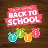 Back to school sale offer, banner template. Alarm clock with lettering Stock Photography